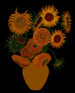 Sunflowers in mid-texture state